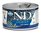 Wady N&D Dog OCEAN. Dorsz / dynia PUPPY MINI