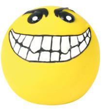 ZABAWKA lateksowa piłka z uśmiechem, żółta mała wypełniona